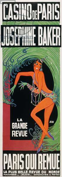 JOSEPHINE BAKER (1906-1975) American dancer. Josephine Baker on a Casino de Paris poster, 1930.