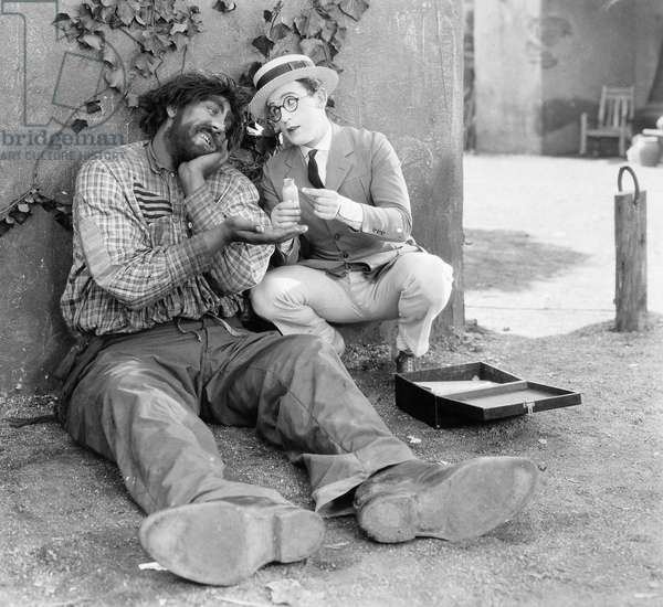 SILENT FILM: WHY WORRY? John Aasen (left) and Harold Lloyd in a scene from the 1923 silent film, 'Why Worry?'