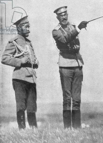 NICHOLAS II (1868-1918) Emperor Nicholas II of Russia and Grand Duke Nikolai Nikolayevich Jr. during a military exercise. Photograph, c.1914.