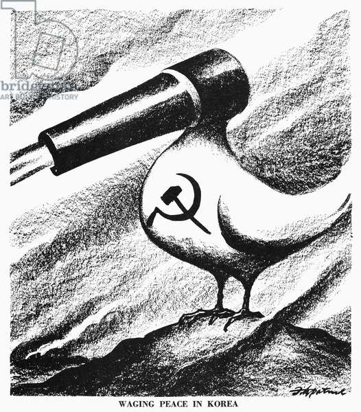 CARTOON: KOREAN WAR, 1951 'Waging Peace in Korea.' American cartoon on the inconsistency between Communist North Korea's peaceful words and military actions. Cartoon by D.R. Fitzpatrick, 1951.
