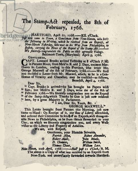 STAMP ACT BROADSIDE, 1766 Broadside printed in Hartford, Connecticut, announcing the repeal of the Stamp Act, 1766.