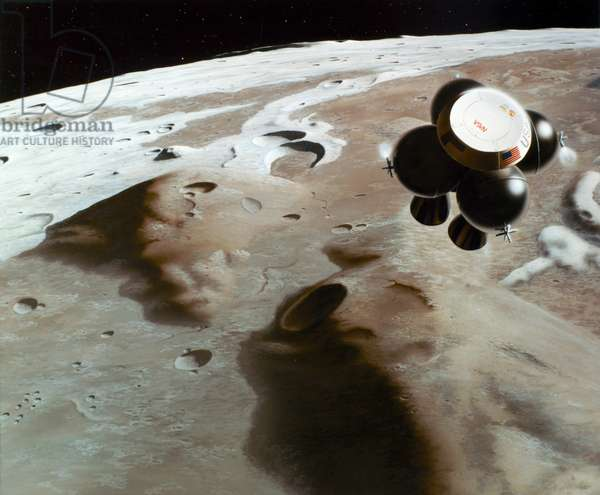 SPACE: LUNAR CRAFT, 1988 Artist's conception of an unmanned sample collection vehicle leaving the region of the volcanic domes Gruithuisen Delta (foreground) and Gruithuisen Gamma (center), in the moon's Sea of Rains, to begin a return trip to Earth. Painting for NASA by Mark Dowman of Eagle Engineering, 1988.