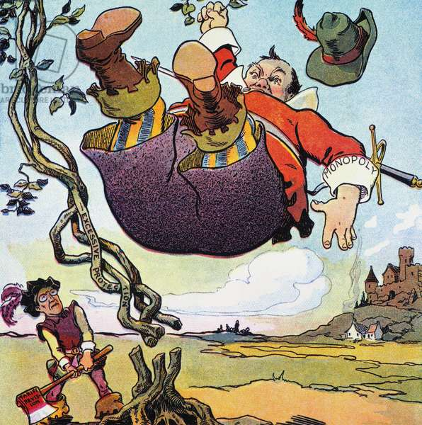 WOODROW WILSON CARTOON President 'Jack' Woodrow Wilson chops the tangled roots of high protection and brings down the giant monopoly. American cartoon, c.1914.