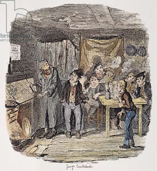 DICKENS: OLIVER TWIST, 1838. 'Oliver introduced to the Respectable Old Gentleman.' Etching by George Cruikshank from the first edition of Charles Dickens' 'Oliver Twist,' 1837-1838.