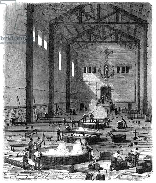 SOAP MANUFACTURE The soap boiling room of a French olive oil-soap factory at Marseilles. Wood engraving, French, c. 1870.