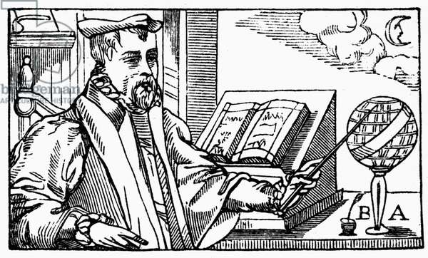 BERNARD ABBATIA (fl. c.1572) French astronomer and astrologer. Woodcut, French, 1572.