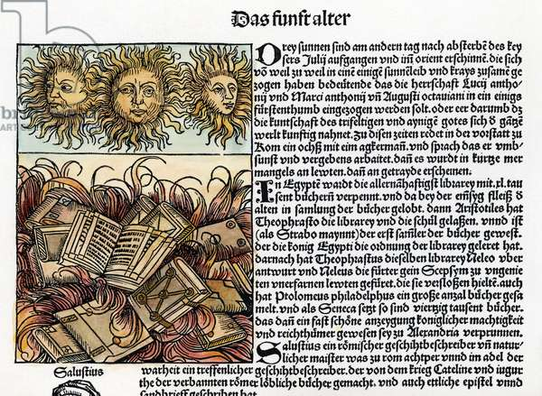 ALEXANDRIA LIBRARY The burning of the library in Alexandria, Egypt, by the Romans under Julius Caesar in 47 B.C. German woodcut, 1493.