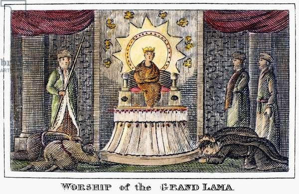 TIBET: GRAND LAMA, 1832 Worship of the Grand Lama in Tibet. Line engraving, American, 1832.
