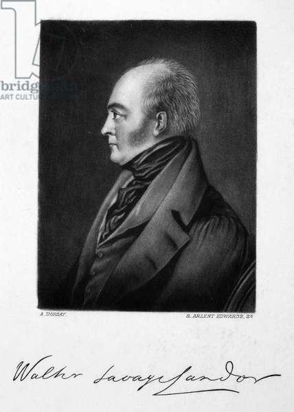 WALTER SAVAGE LANDOR (1775-1864). English writer. Mezzotint, 19th century.