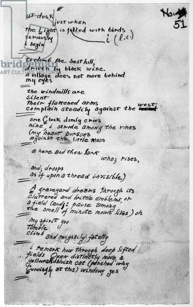 E.E. CUMMINGS (1894-1962) American poet and painter. Manuscript page with his corrections, of 'No Thanks 51,' c.1935.