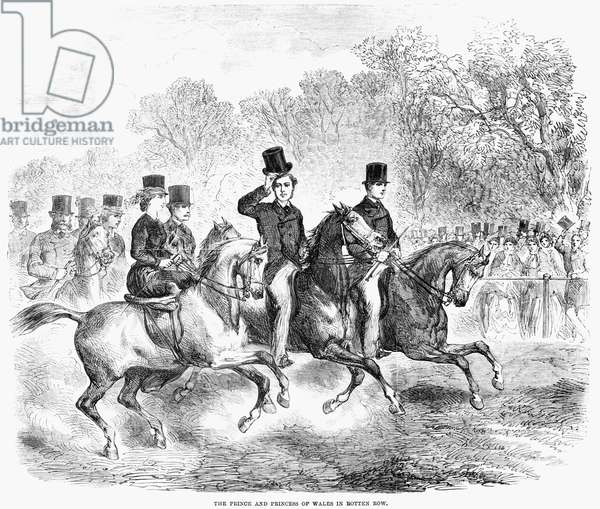 ENGLAND: ROTTEN ROW, 1863 Edward VII, Prince of Wales and his wife, Princess Alexandra of Denmark, riding in Rotten Row in London, England. Wood engraving, English, 1863.