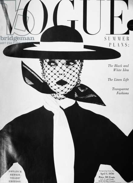 VOGUE MAGAZINE, 1950 Cover of the 1 April 1950 issue of the American edition of 'Vogue' magazine, featuring a photograph of model Jean Patchett by Irving Penn.