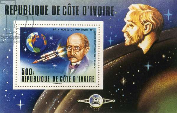 MAX PLANCK (1858-1947) German physicist. Ivory Coast postal souvenir sheet, 1978, commemorating Planck as the winner of the 1918 Nobel Prize for Physics.