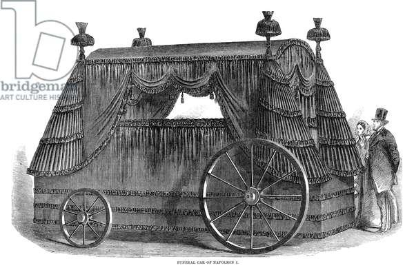 NAPOLEON BONAPARTE (1769-1821). Emperor of the French. Funeral car of Napoleon. Wood engraving, English, 1858.