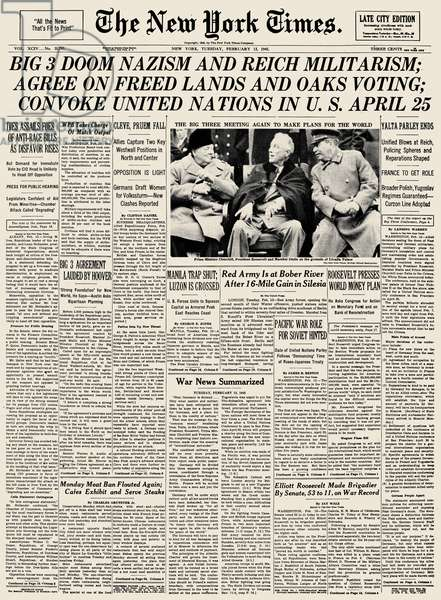 YALTA CONFERENCE, 1945 Front page of The New York Times, 13 February 1945, reporting on the Yalta Conference towards the end of World War II in Europe.