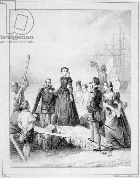 MARY, QUEEN OF SCOTS (1542-1587). Mary Stuart, Queen of Scotland, 1542-1567. Lithograph, French, 1840, after a painting.