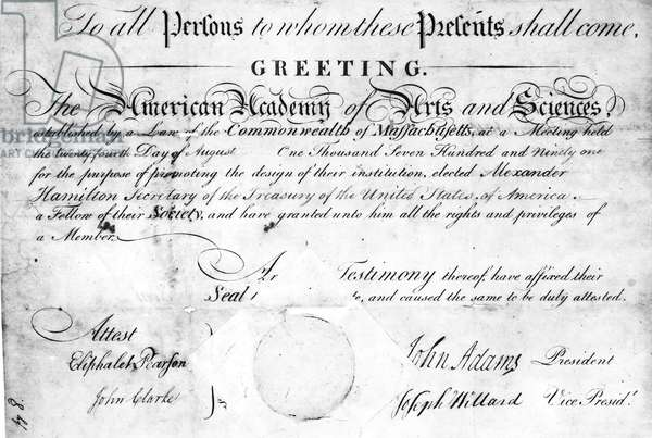 ACADEMY OF ARTS & SCIENCES Certificate of Alexander Hamilton's election to the American Academy of Arts and Sciences, 1791.