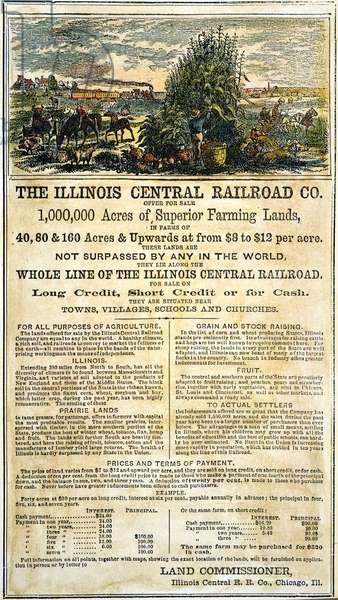 ILLINOIS RAILROAD COMPANY Land advertisement, 1864.