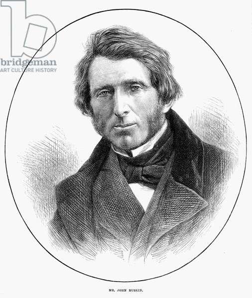 JOHN RUSKIN (1819-1900) English critic. Wood engraving, English, 1871.