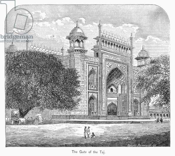 INDIA: TAJ MAHAL View of the gateway of the Taj Mahal in Agra, India. Wood engraving, 19th century.