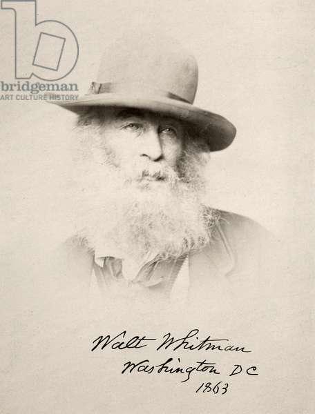 WALT WHITMAN (1819-1892) American poet. Photographed in 1863, Washington, D.C.
