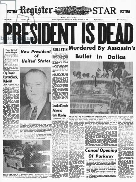 KENNEDY ASSASSINATION, 1963. The banner headline of the 'Hudson Register-Star' on 23 November 1963 announcing the assassination of President Kennedy.
