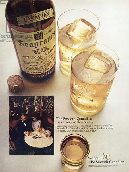 AD: WHISKEY, 1968 American advertisement for Seagram's VO Canadian Whiskey. Photograph, 1968.