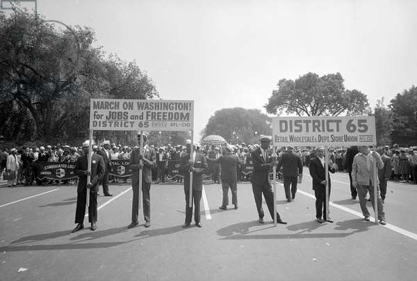 MARCH ON WASHINGTON, 1963 Union members carrying signs during the March on Washington. Photograph by Marion S. Trikosko, 28 August 1963.