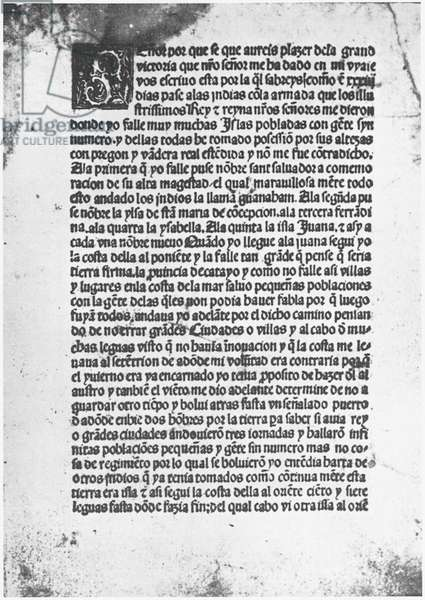 COLUMBUS LETTER, 1497 First page of the Spanish edition of the Columbus letter, 1497.