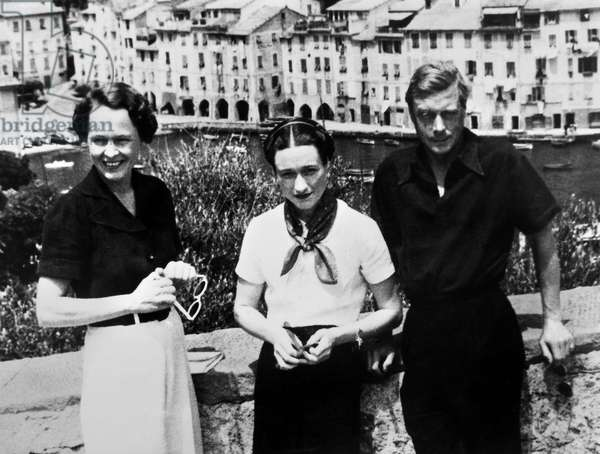 EDWARD VIII (1894-1972). King of Great Britain. Edward and Mrs. Wallis Simpson (1896-1986) (Center), who would become the Duchess of Windsor, with Katherine Rogers while on a cruise in the Adriatic Sea. Photographed 1936.