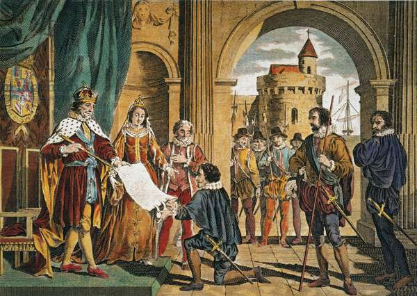 CHRISTOPHER COLUMBUS being given the sailing commission by King Ferdinand and Queen Isabella for his Enterprise of the Indies in Sante Fe, Spain, on April 30, 1492: coloured  engraving, 19th century.