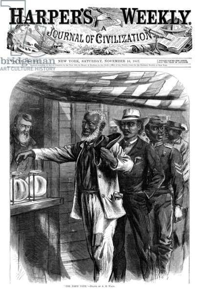 HARPER'S WEEKLY, 1867 'The First Vote.' Front page of Harper's Weekly, 16 November 1867.