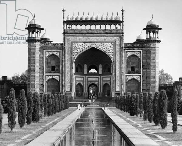INDIA: TAJ MAHAL Entrance to the grounds of the Taj Mahal at Agra, the the marble mausoleum built (1631-1645) by the Mogul Emperor Shah Jahan in memory of his favorite wife, Mumtaz Mahal. Undated photograph.