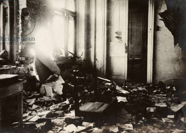 MOSCOW, c.1917 The interior of a destroyed building, damaged by the fighting associated with the Russian Revolution in Moscow, Russia. Photograph by James Maxwell Pringle, 1917 or 1918.