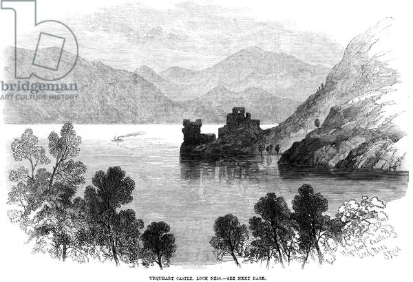 SCOTLAND: LOCH NESS, 1868 Urquhart Castle overlooking Loch Ness. Wood engraving, 1868.