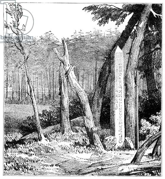 TREATY OF PARIS BOUNDARIES Monument on the St. Croix River, marking the boundary between New Brunswick, Canada, and Maine, the United States, according to the Treaty of Paris, 1783 Lithograph, English, 1832.