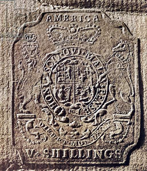 HISTORY OF USA: STAMP ACT (1765-1766). Embossed tax stamp issued by the British government for use in the American colonies in 1765.