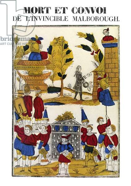FUNERAL PROCESSION, 1822 'Mort et convoi de l'invincible Malbrough.' Funeral procession of the Duke of Marlborough. Epinal print, 1822.