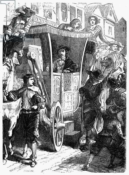 CHARLES I (1600-1649) King of Great Britain, 1625-1649. Charles I encounters protests while riding through the streets of London, England, following his forced entry into the House of Commons on 4 January 1642. Wood engraving, English, c.1860.