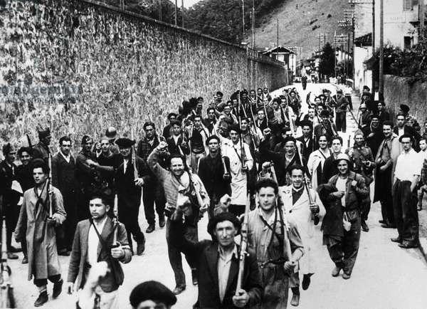 SPANISH CIVIL WAR, c.1938 Republican soldiers marching. Photograph, c.1938.