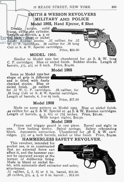 SMITH & WESSON REVOLVERS Page from an Abercrombie and Fitch catalog advertising Smith & Wesson revolvers, early 20th century.