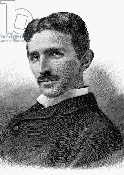 NIKOLA TESLA (1856-1943) American electrician, physicist and inventor. Born in Croatia, of Serbian parents. Wood engraving, American, 1894.