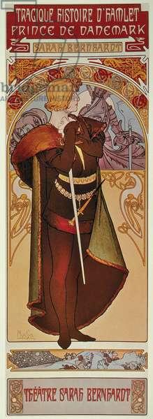 SARAH BERNHARDT AS HAMLET on a poster by Alphonse Mucha, c.1900.