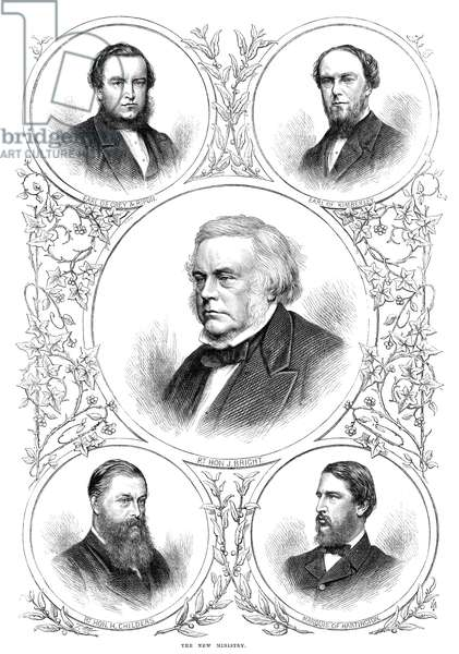 NEW MINISTRY, 1869 The new ministry - George Robinson, Earl de Grey & Ripon; John Wodehouse, Earl of Kimberley; John Bright, Hugh Childers, and Spencer Cavendish, Marquis of Huntington. Engraving, 1869.
