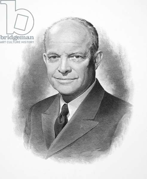 DWIGHT D. EISENHOWER (1890-1969). 34th President of the United States. Steel engraving, mid 20th century.