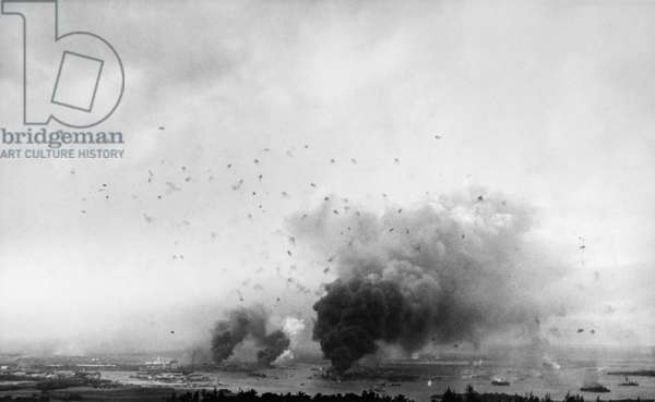 WORLD WAR II: PEARL HARBOR Panoramic view of the Japanese attack on Pearl Harbor, Hawaii, 7 December 1941.