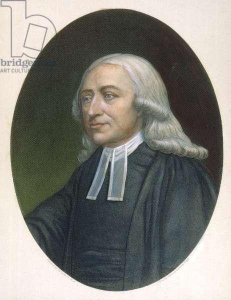 JOHN WESLEY (1703-1791) English religious leader: steel engraving, American, 1876.
