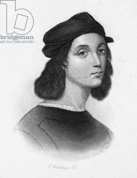 RAPHAEL (1483-1520) Italian painter. Steel engraving after a presumed self-portrait.