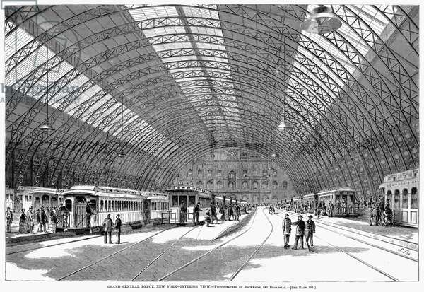 GRAND CENTRAL, 1872 An interior view of Grand Central Station at Fourth Avenue and 42nd Street, New York City, built 1869-1871. Wood engraving, 1872.