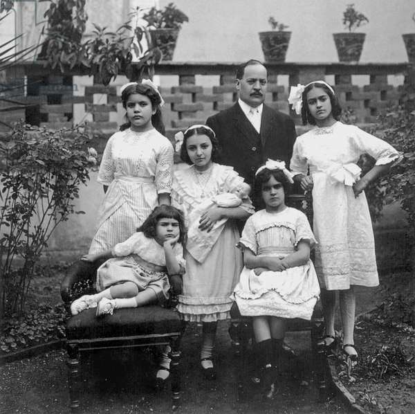 FRIDA KAHLO (1907-1954) Mexican artist. Kahlo at age five (seated left), with her sisters Matilde and Adriana, two cousins, and an uncle. Photographed by Guillermo Kahlo, Coyoacan, Mexico, 1912.